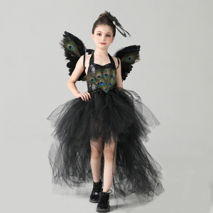 Fancy Peacock Feather Girl Pageant Tutu Dress with Wing