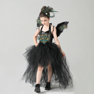 Fancy Peacock Feather Girl Pageant Tutu Dress with Wing Kids Deluxe Peacock Tutu Costume Dress Evening Party Halloween Clothes