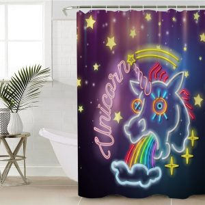 Flamingo And Unicorn Shower Curtain (Copy)