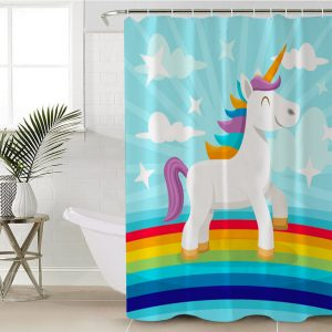 Floral Unicorn Eyelash Shower Curtain (Copy)
