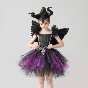 Girls Evil Dark Fairy Witch Tutu Dress with Horns and Wings