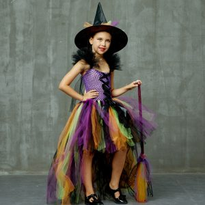 Girls Halloween Witch Tutu Dress Rainbow Trailing Tulle Kids Carnival Cosplay Party Dress Children Fancy Ball Gown Dress Costume