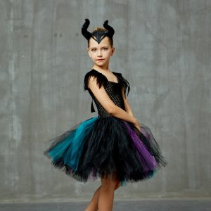 Girls Maleficent Evil Queen Costume Halloween Cosplay Witch Fancy Tulle Tutu Dress with Horns Kids Birthday Party Clothing