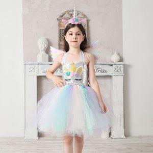 Girls Pastel Sequins Rainbow Unicorn Tutu Dress
