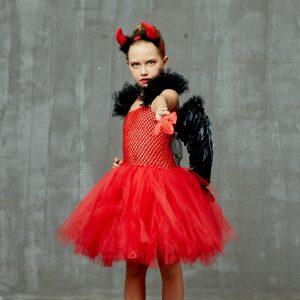 Girls Red Devil Halloween Tutu Dress with Horns Wings Pitchfork Crimson Demon Kids Fancy Dress Up Carnival Party Dress Costume