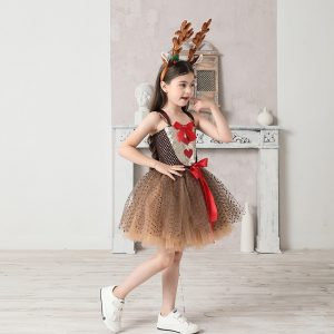 Girls Reindeer Christmas Costume XMAS Kids Rudolph the Red Nose Reindeer Fancy Tutu Dress with Headband Pageant Party Dress