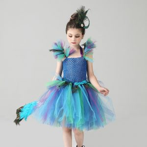 Girls Royal Peacock Carnival Fancy Tutu Dress