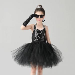 Glam Black Princess Girls Fancy Tutu Dress Sequin Audrey Hepburn Dress for Kids Breakfast at Tiffany's Costume Prom Party Dress