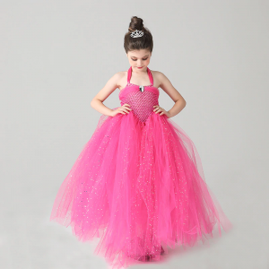 Glittery Hot Pink Tulle Girls Party Tutu Dress Princess Stunning Ball Gown Dress for Children Wedding Pageant Birthday Costume