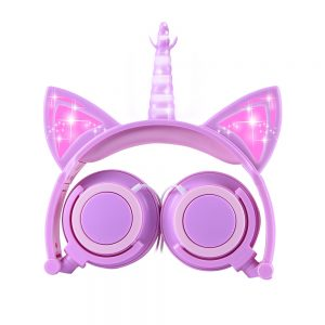 Glowing Purple Unicorn Headphones