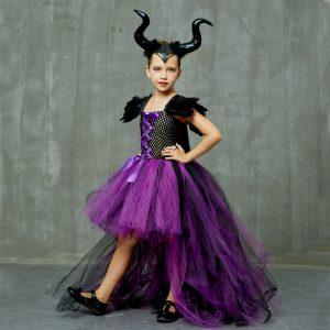 Halloween Maleficent Evil Dark Queen Girls Tutu Dress with Horns