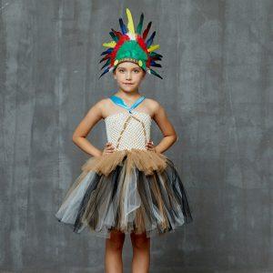 Indian Princess Pocahontas Girls Tutu Dress Kids Fancy Carnival Halloween Costume Handmade Children Party Tulle Dress
