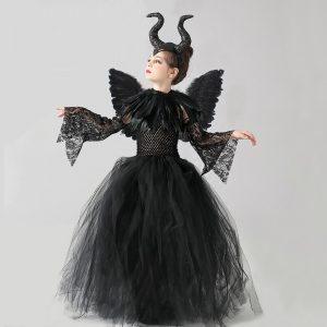 Kids Black Devil Tutu Costume Gothic Halloween Girls Fancy Tutu Dress with Feather Shawl Royal Dark Queen Maleficent Gown Dress