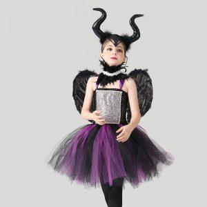 Little Child Evil Dark Queen Maleficent Girls Halloween Dress
