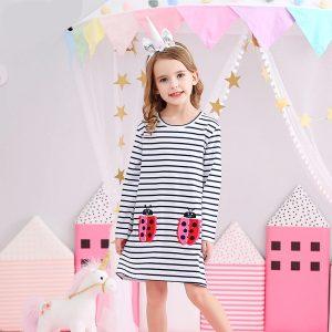 Long Sleeve Baby Girls Striped Dress
