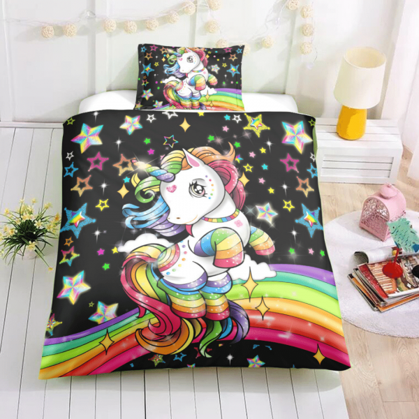 Magical Rainbow Unicorn Themed Bedding Set