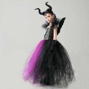 Maleficent Malificent Sorceress Evil Queen Girls Fancy Tutu Dress