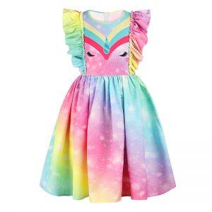 Myth Unicorn Cosplay Girls Princess Dress Thin Style Summer Casual Rainbow Unicorn Girls Dress Fantasy Party Baby Girl Dresses