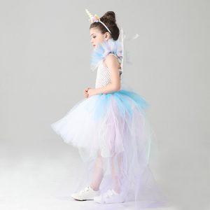 Pastel Rainbow Unicorn Tutu Dress with Train Tail
