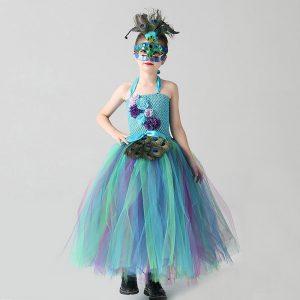 Peacock Flower Girls Tutu Dress with Mask