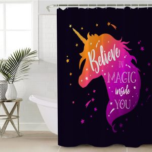 Pink Baby Unicorn Pattern Shower Curtain (Copy)