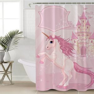 Pink Castle Unicorn Shower Curtain