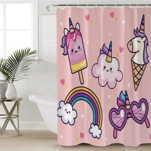 Pink Funny Unicorn Shower Curtain (Copy)