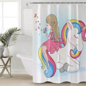 Pink Girl Unicorn Shower Curtain (Copy)