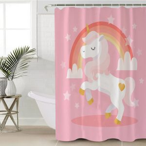 Pink Rainbow Unicorn Shower Curtain