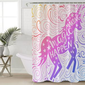 Pink Rainbow Unicorn Shower Curtain (Copy)