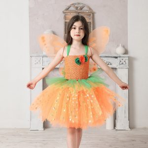 Pumpkin Fall Fairy Girls Tutu Dress with Wing