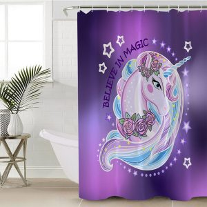 Purple Flower Unicorn Themed Shower Curtain