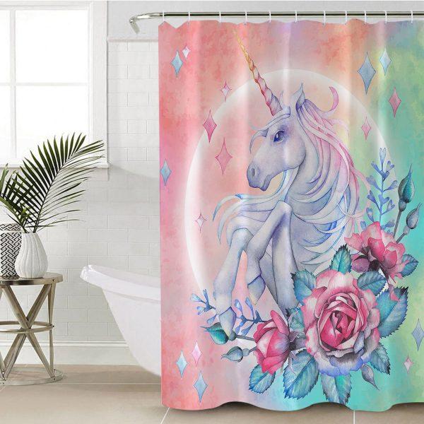 Purple Flower Unicorn Themed Shower Curtain (Copy)