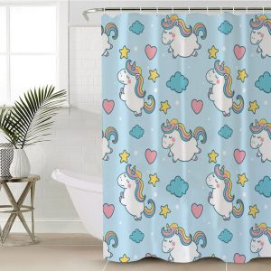 Rainbow Blue Unicorn Themed Shower Curtain