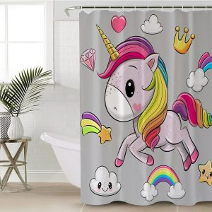 Rainbow Blue Unicorn Themed Shower Curtain (Copy)
