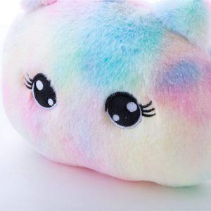 Rainbow Tie-dye Unicorn Car Headrest & Seat Belt Fluffy Pillow