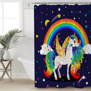 Rainbow Winged Unicorn Themed Shower Curtain