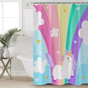 Sky and Rainbow Unicorn Shower Curtain (Copy)