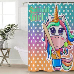 Softball Unicorn Shower Curtain