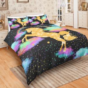 Sparkling Golden Unicorn Bedding Set