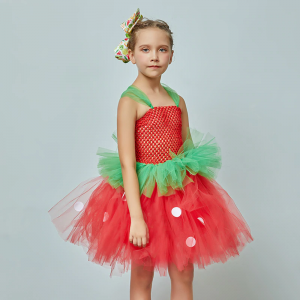 Strawberry Sweetie Costume Children Halloween Fancy Tutu Dress Girls Fruit Food Festival Tropical Party Clothing Ballet Dress