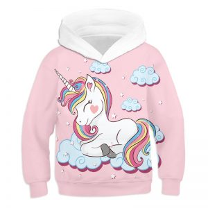 Unicorn 3D Printed Cartoon Hoodie Pullover