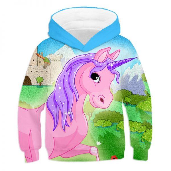 Unicorn 3D Printed Cartoon Hoodie Pullover
