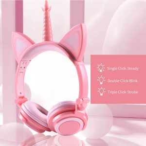 Unicorn Wired LED Glowing Gaming Headphones