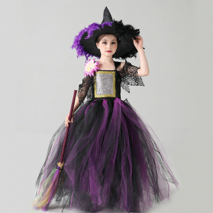 Wicked Halloween Purple Black Girls Fairytale Witch Tutu Dress with Feather Hat