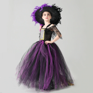 Wicked Witch Halloween Costume Purple Black Girls Fairytale Witch Tutu Dress with Feather Hat Kids Carnival Disguise Gown Dress