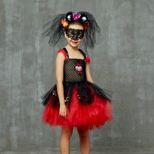 Zombie Day Of The Dead Bride Girls Halloween Fancy Tutu Dress