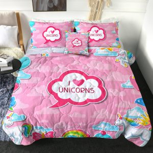 4 Pieces Cute Girl Unicorn Comforter Set (Copy)