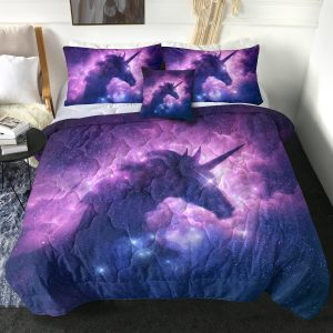 4 Pieces Galaxy Unicorn Themed Comforter Set