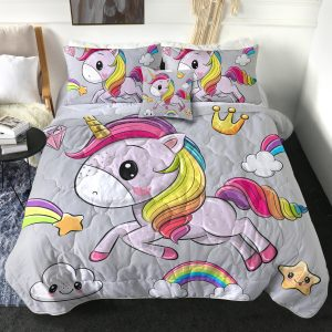 4 Pieces Gray Emoji Unicorn Comforter Set (Copy)